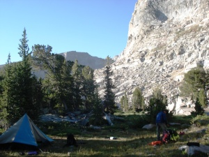 One of our campsites, tucked into the cliffs.