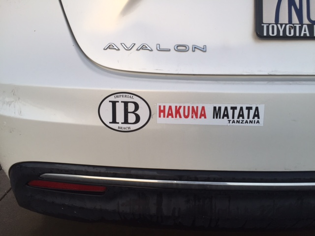 The bumper of my car - makes a statement.