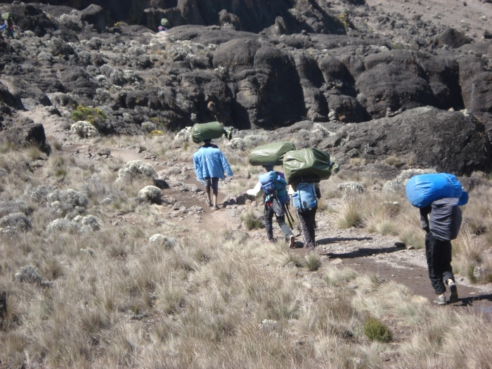 The porters, each carrying their own gear plus up to 45 lbs of